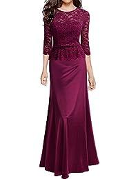 Miusol Damen Abendkleid 3/4 Arm Elegant Spitzen Kleid Brautjungfer Langes Cocktailkleid Navy Blau Gr.S-XXL