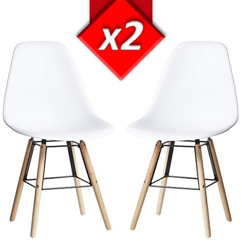 VS Venta-stock Lot de 2 Chaises Tower Halley Blanc, Chaise Eames Blanc avec Pieds en Bois de hêtre Massif, Dimensions: 47 x 56 x 81