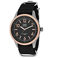 Q&Q Men's Black Dial Synthetic Band Watch - Q922J525Y