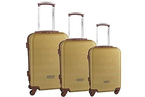 Starres 3-teiliges Trolleyset PIERRE CARDIN gold Handgepäck S330