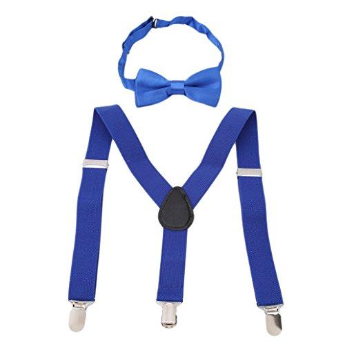 n Mädchen Hosenträger Elastisch Einstellbare Braces Clip-On mit Fliege Set (Königsblau) (Die Fliege Kostüm)