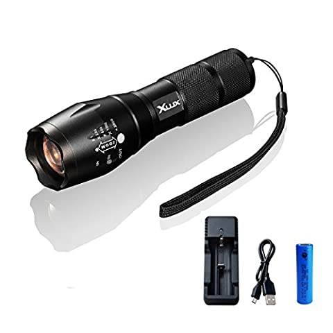[Charge Anywhere] rechargeable LED torch tactical flashlight, super bright, with USB charger and 18650 Li-ion battery