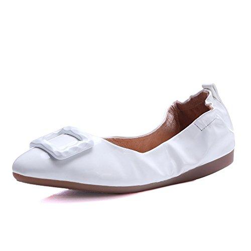 VogueZone009 Femme Tire à Talon Bas Pu Cuir Mosaïque Rond Chaussures à Plat Blanc