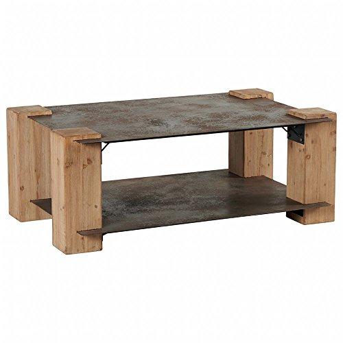 PierImport Table Basse Sapin et Double Plateaux Métal Vieilli 119x70x46cm ACTUS