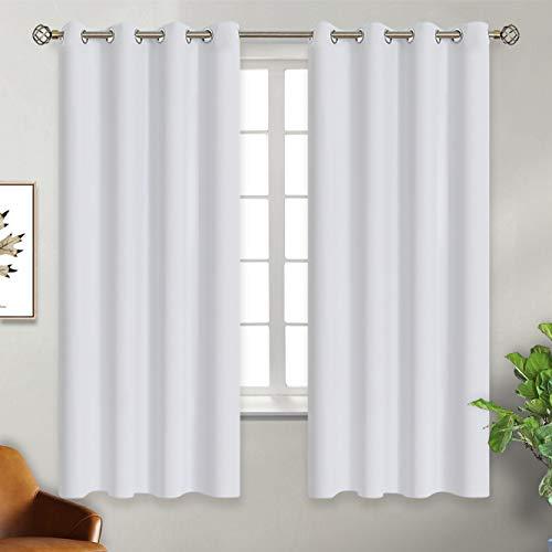 BGment Vorhänge Grau-Weiß mit Ösen Gardine Blickdicht Verdunkelung Thermo 2er Set Verdunkelungsvorhang 137 x 117 cm (H x B) für Schlafzimmer Wohnzimmer