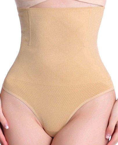 Kiwi-Rata Panty Faja con Tanga Brasilera de Control Suave que Afina Tu Cintura Braguitas Moldeadoras Lencería para Cintura Fajas Reductoras para Mujer (Beige, Talla M&L)
