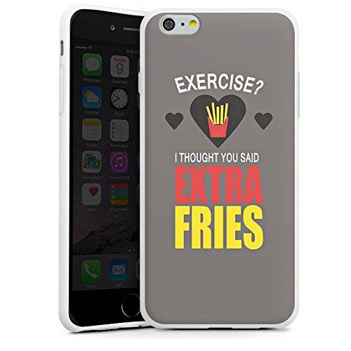 Apple iPhone X Silikon Hülle Case Schutzhülle Fitness Pommes Statement Silikon Case weiß