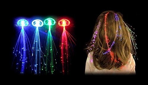 Set von 3, 6, 10, 80 LED-Glasfaser Beleuchtung, In Blau oder Rainbow, rot, grün oder weiß/Haarspange für (Grüne Für Verkauf Perücken)