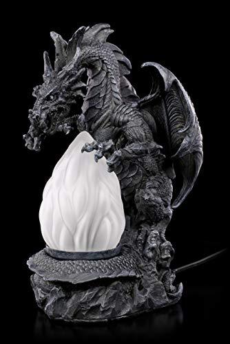 Drachenlampe - Drachen Figur beschwört Flammen | Gothic Lampe Deko - Drache Mit Flammen Der Liebe