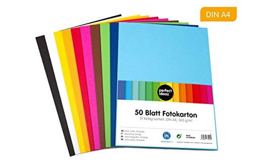 perfect ideaz 50 Blatt DIN-A4 Foto-Karton bunt, Bastel-Papier, Bogen durchgefärbt, 10 verschiedenen Farben, 300g/m², Ton-Zeichen-Pappe zum Basteln, buntes Blätter-Set farbig, DIY-Bedarf -