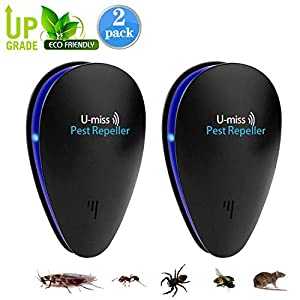 U-MISS Ultrasonic Pest Repeller,Indoor Pest Control Ultrasonic Insect Repellent For Cockroach, Mice, Rodents, Spiders, Flies, Ants, Fleas (2pack) by U-MISS