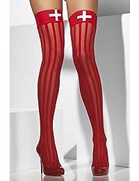 Smiffys, Fever, Damen Halterlose Strümpfe mit Längsstreifen, Kreuzmotiv, One Size, Rot und Weiß, 42764