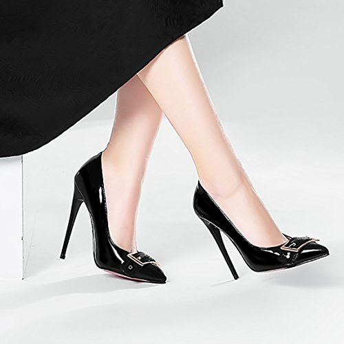 Boucle Sexy Aiguille Femmes Escarpins Pointu Grand UH Noir a Vernis Talon Enfier a la Bout Mode a avec S0wvvxOd
