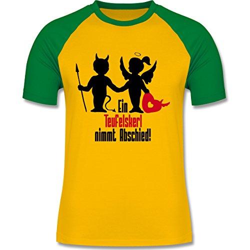 JGA Junggesellenabschied - Ein Teufelskerl nimmt Abschied - zweifarbiges Baseballshirt für Männer Gelb/Grün