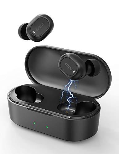 Auriculares Bluetooth con Micrófonos,QCY T2C Auriculares Inalámbricos Bluetooth 5.0 HiFi Mini Estéreo In-Ear Audifonos con Caja de Carga Portátil para iPhone y Android (Negro)