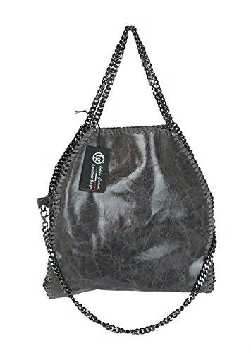 G.F. borsa da donna tre catene Inspired in vera pelle Made in Italy grigio