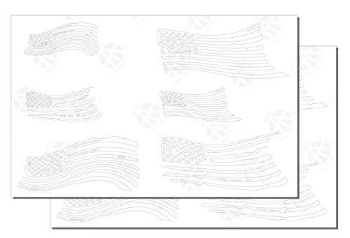 Acid Tactical 2 Pack selbstklebende EasyPeel Sprühfarbe Cerakote RC Maske Pistole Schablonen zerrissen US-amerikanischen Flaggen (Schablone Us-flagge)