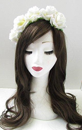 Blanc Ivoire Rose cheveux fleur couronne Serre-tête guirlande VTG Grand Festival Boho 45 * * * * * * * * exclusivement vendu par – Beauté * * * * * * * *