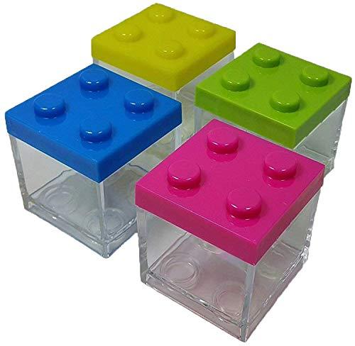 12 x scatolina portaconfetti plexiglass mattoncini costruzioni assortiti verde giallo blu fuxia