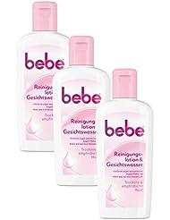 bebe Reinigungslotion & Gesichtswasser / Sanfte Gesichtsreinigung für empfindliche & trockene Haut / 3 x 200ml