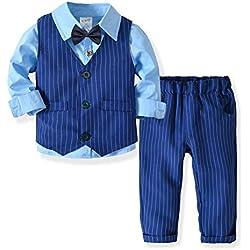 ZOEREA 3 Piezas Trajes de Bebés Niños Chaleco + Camisa con Pajarita + Pantalones Niño Caballeros Bautismo Boda Bautizo Patrón de Rayas Azules Conjuntos de Ropa Azul, Etiqueta 130