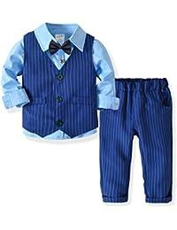 Zoerea 3 Pezzi Bambini Ragazzi Abbigliamento Set Camicia con Papillon +  Gilet + Pantaloni cb5331656b2