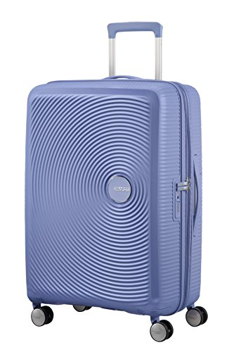 American Tourister Soundbox Spinner Espandibile Bagaglio A Mano, 67 cm, 71,5/81 L, 3,7 Kg, Blu (Denim Blue)