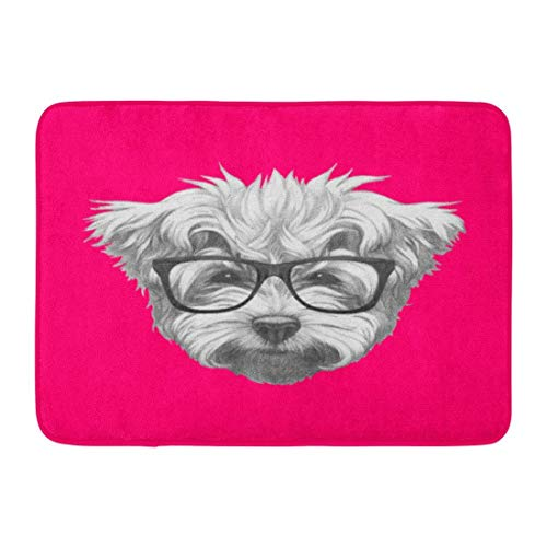 Fußmatten Bad Teppiche Outdoor/Indoor Fußmatte Hund Portrait von Malteser Pudel Brille gezeichnet Hand Tier schöne Badezimmer Dekor Teppich Badematte -