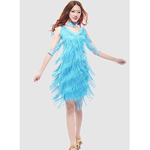 uchtanz Kostüm Für Frauen Quasten Bauchtanz Outfit Blau Quasten Latin Dance Kleid Rock Kostüm Body Pailletten Kurzen Rock Leistung Kostüm,XXL (Tango Tänzer Halloween Kostüm)