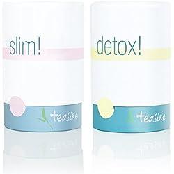 Teasire 14 Tage Body Kur – Das leckere, gesunde Kräutertee Set enthält 2 Sorten: Slim! und Detox! – 100 % Bio Qualität (2 x 50 g)