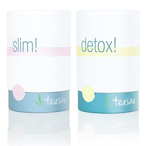 Teasire Body Kur – Das leckere gesunde Kräutertee-Set enthält 2 Sorten: Slim! und Detox! – bio & vegan, 2x50g