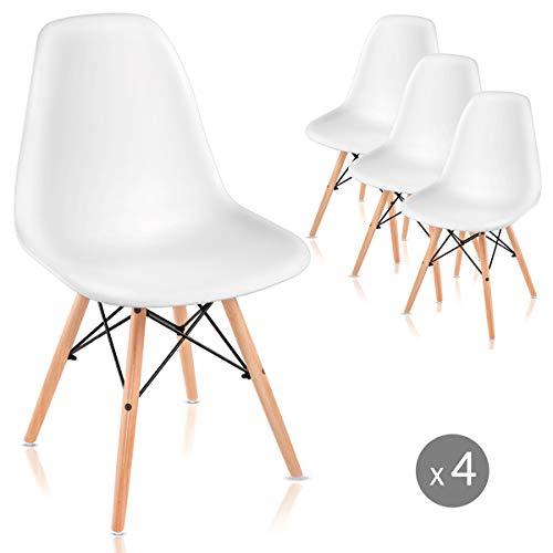 Mc Haus Pack 4 sillas Nordicas Color Blanco para Comedor o Exterior, 61x61x53