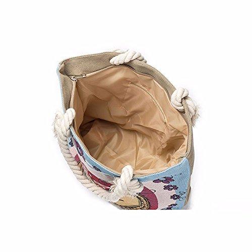 Longra Il sacchetto portatile gufo stampata D