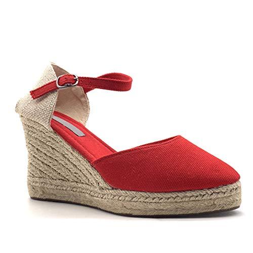 770785a1bd Angkorly - Chaussure Mode Sandale Espadrille Folk/Ethnique Bohème Romantique  Femme avec de la Paille tréssé Simple Basique Talon compensé Plateforme 9  CM ...