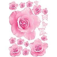 DDG edmms Big rosa flores adhesivos decorativos vinilo decoración salón sofá decoración DIY casa adhesivo Art Design 3d papel pintado herramientas tuercas