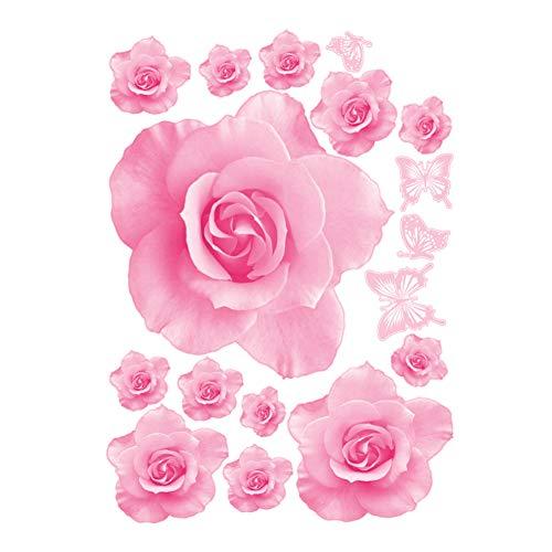 DDG EDMMS Wandsticker Big Rose Blumen Vinyl Dekoration Wohnzimmer Sofa Dekoration Diy Haus Aufkleber Kunst Design 3D Tapeten Werkzeug Basteln