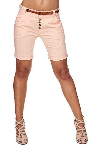 SUBLEVEL Damen Cuba Chino Shorts Bermuda kurze Hose inkl. Gürtel 60379 Pastel Orange M