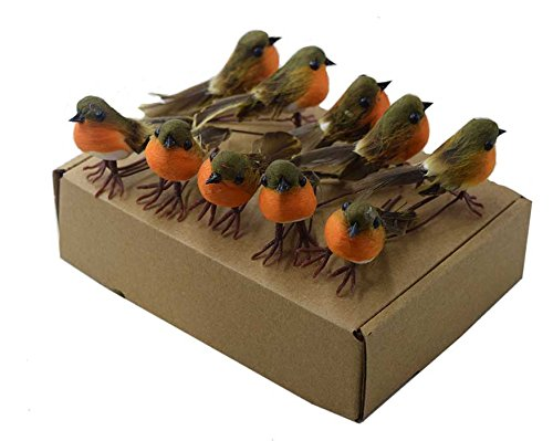 TOME 10PCS Robin Bird Christmas Tree Decoration Craft VERY CUTE Artificial Feather