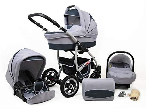 Kinderwagen Largo,3 in 1 -Set Wanne Buggy Babyschale Autositz mit Zubehör Silver