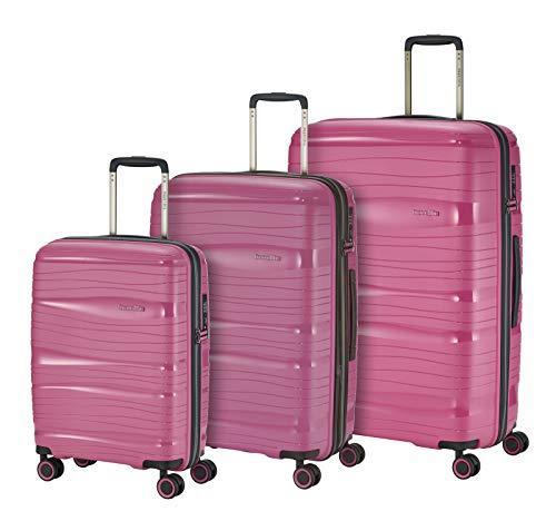 """Travelite Leichter, robuster und beweglicher Rollen-Reisekoffer Trolley \""""Motion\"""" mit Hartschalen in 4 Farben Koffer-Set, 77 cm, 213 Liter, Bonbon"""