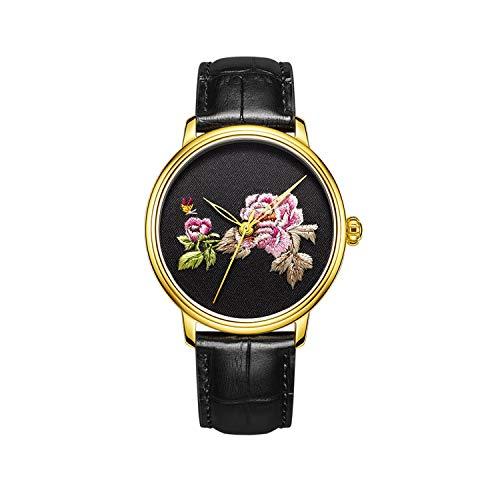 CHIYODA Stickerei-Uhr mit goldenem Kasten personifizierte Blumen-gestickte Uhr der Männer für Hochzeit/Geschenk-Weihnachten/Danksagung für Vater/Ehemann/Jungen-Freund (Blühende Blumen)
