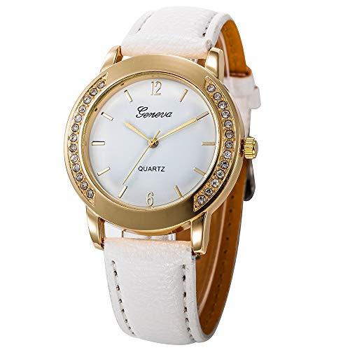 IG-Invictus Frauen und männer lässig einfache Business Leder Quarz analog Armbanduhr Geneva Geneva Herren Herren gürteluhr CSD 030 weiß