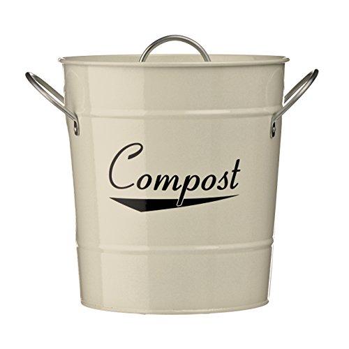 Premier Housewares Compostiera, Acciaio Zincato Crema Verniciato a Polvere, Maniglie in Zinco/Secchio di Plastico Interno