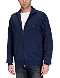 GANT Herren Strickjacke LT. WEIGHT COTTON ZIPCARDIGAN, Einfarbig