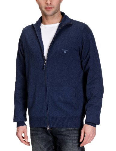 Gant - Cardigan, uomo, Blu (Blau (DENIM BLUE MEL)), XL