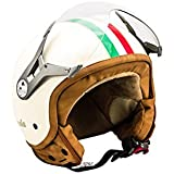 SOXON SP-325 Imola · Vintage Biker Roller-Helm Jet-Helm Pilot Mofa Retro Chopper Helmet Bobber Vespa-Helm Motorrad-Helm Scooter-Helm Cruiser · ECE zertifiziert · mit Visier · inkl. Stofftragetasche · Beige · L (59-60cm)