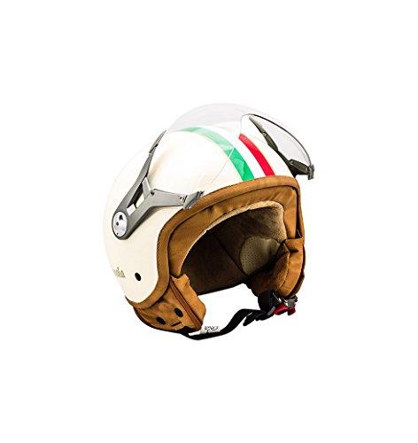 SOXON SP-325 Imola · Scooter-Helm Jet-Helm Motorrad-Helm Cruiser Biker Vintage Pilot Helmet Chopper Roller-Helm Bobber Mofa Vespa-Helm Retro · ECE zertifiziert · mit Visier · inkl. Stofftragetasche · Beige · S (55-56cm)