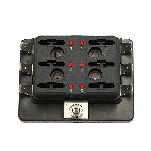 KKmoon 10 Voie Lame Support Fuse Boîte avec éclairage LED Avertissement de f š ¹ R Voiture Bateau Marine Trike 12 V 24 V