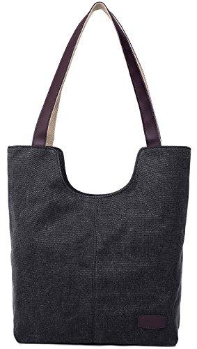 Schwarz Canvas-tasche (Damen Umhängetasche Handtasche aus Canvas Schwarz)