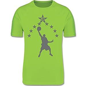 Sport Kind – Basketball Sterne – atmungsaktives Laufshirt/Funktionsshirt für Mädchen und Jungen